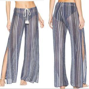 BECCA Pierside Side Slit Blue Coverup Pants NWT